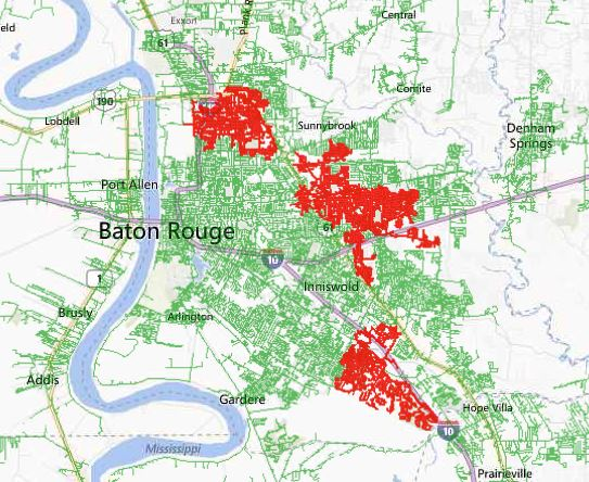 Power Outages Map from Entergy Louisiana, April 23 2014.
