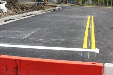 Freshly marked yellow lane lines