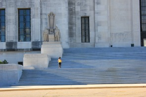 Jogging on the Steps of the Louisiana State Capital