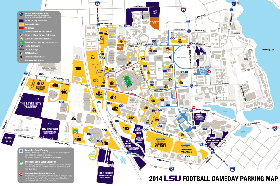 Parking Map for LSU Gameday 2014