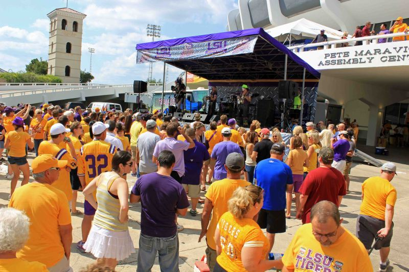 Bag of Donuts Band in Baton Rouge LSU Game. Photo by Kevin Woolsey Photography.