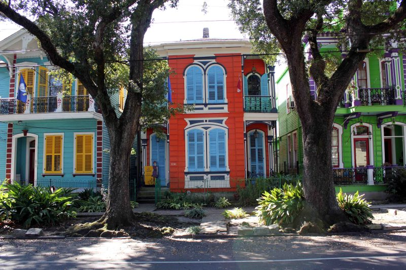 Bright Colored Houses on Esplanade Ave in New Orleans
