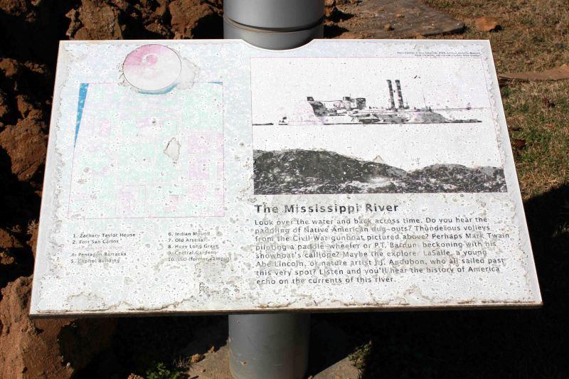 The Mississippi River Sign by Pentagon Barracks in Baton Rouge LA