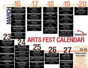 BRCC Calendar for 7th Annual ArtsFest