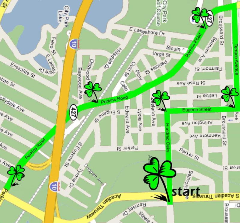 St. Patrick's Day Parade Route Map Baton Rouge LA 2015 Wearing of the Green Parade