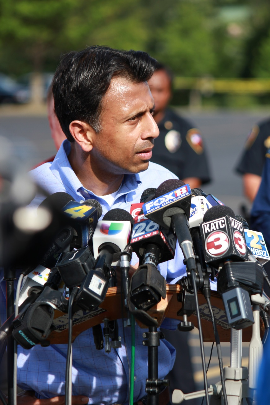 Gov. Bobby Jindal Speaks with Press Outside of Grand Theather in Lafayette, LA