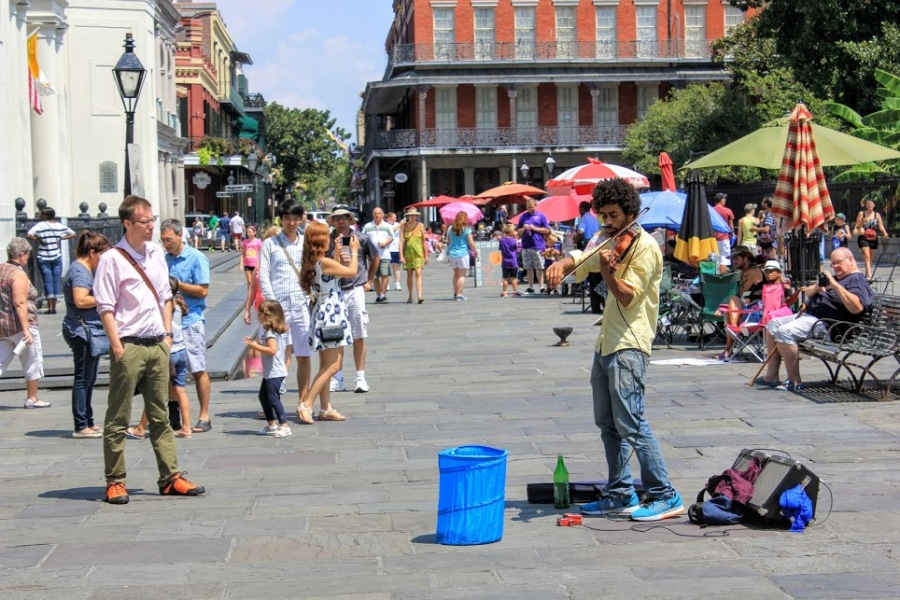 A Violinist Plays in Jackson Square on Labor Day by Kevin Woolsey Photography