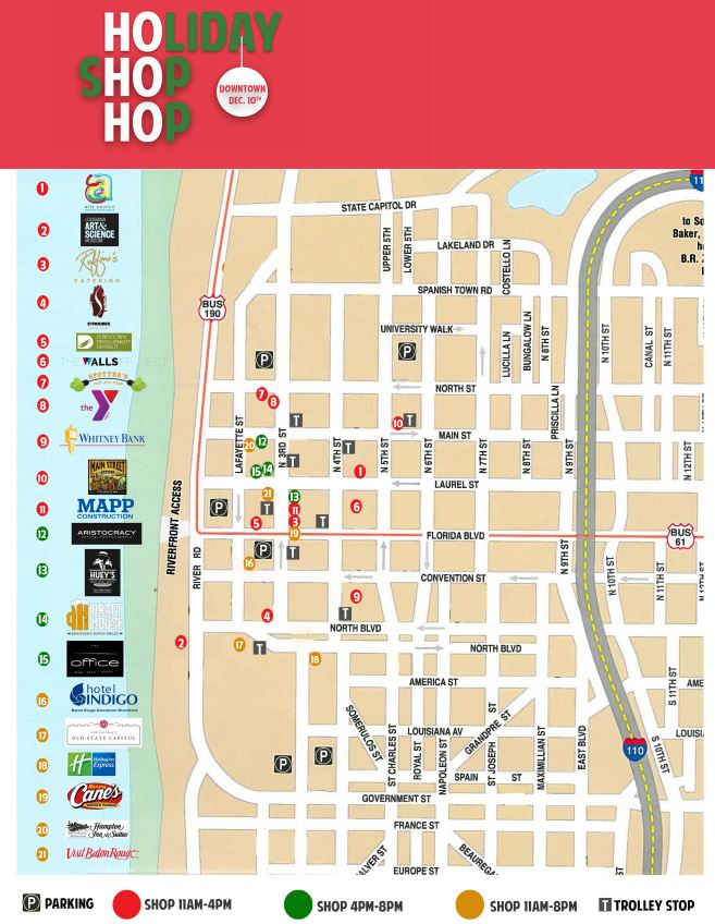 Holiday Shop Hop Baton Rouge Map for All Vendors 2015