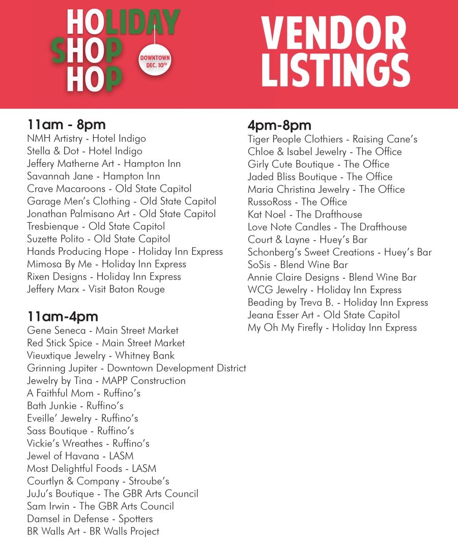 Holiday Shop Hop Downtown Baton Rouge Vendor List 2015.jpg